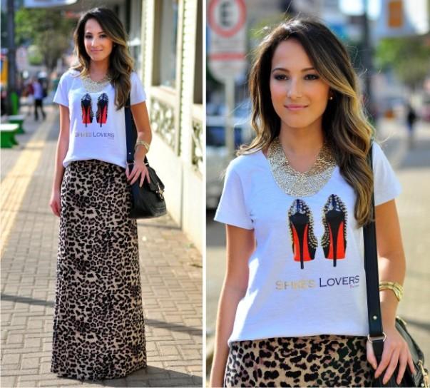 T-shirt+saia longa com estampa animal print