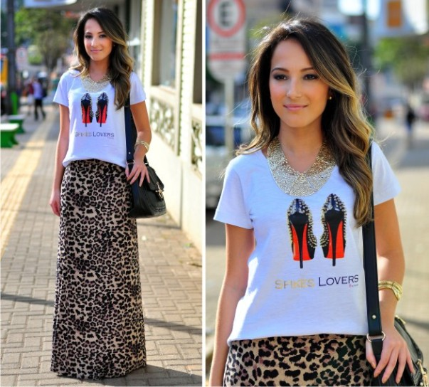T-shirt+saia longa com estampa animal print