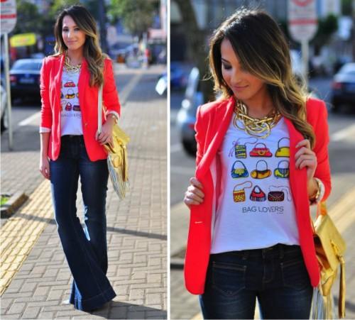T-shirt+blazer+calça flare, a escolha de cores mostra como você pode brincar na hora de escolher seu look!