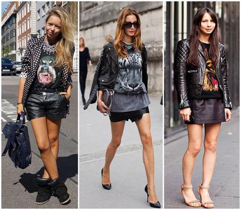 T-shirt+blazer+short ou saia curtos+saltos ou rasteiras