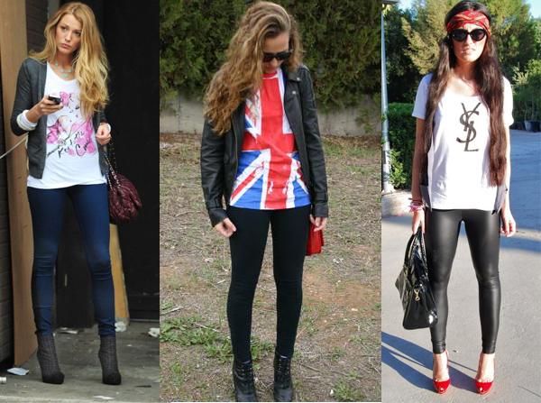 T-shirts+calça legging ou jeans skinning