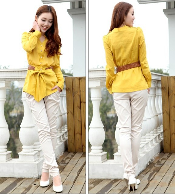 2013-New-Women-Shirts-and-blouses-for-Women-Plus-Size-Fashion-Peplum-Blouses-Yellow-White-Pink