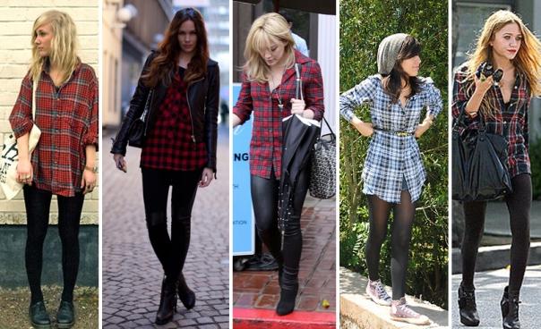 como-usar-camisa-xadrez-como-vestido-com-legging-e-meia-calça